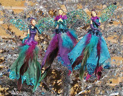 Gisela graham #peacock fairy #angel hanging christmas tree - peacock christmas decorations
