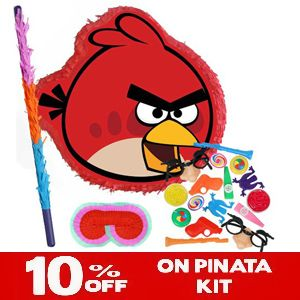 Angry Birds Red Bird Pinata    http://www.pinatas.com/product/PK2212212/Angry-Birds-Red-Bird-Pinata-Party-Pack-Including-Pinata,-Filler-Favors,-Buster-and-Blindfold.html