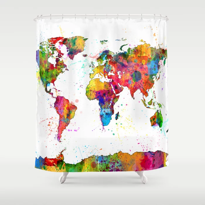 Map Of The World Map Watercolor Shower Curtain By Artpause Society6 Watercolor Shower Curtain Colorful Prints Curtains