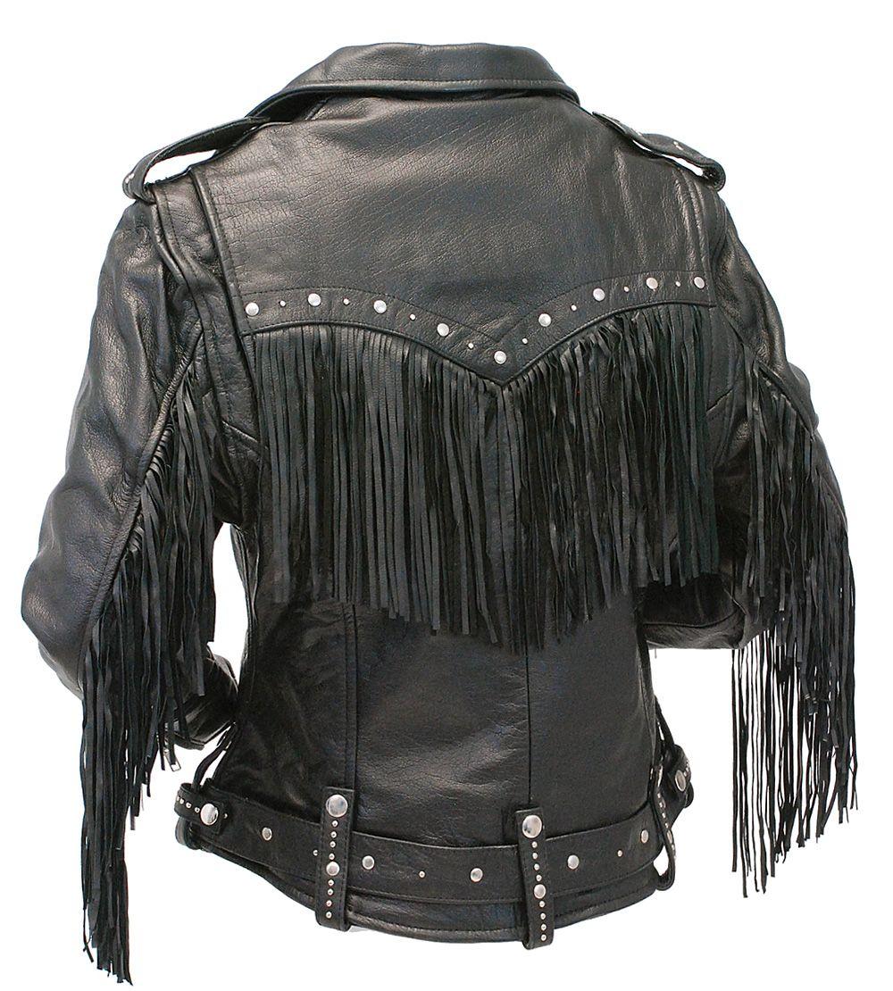Ladies Stud & Fringe Leather Jacket L9028ZSFK (With