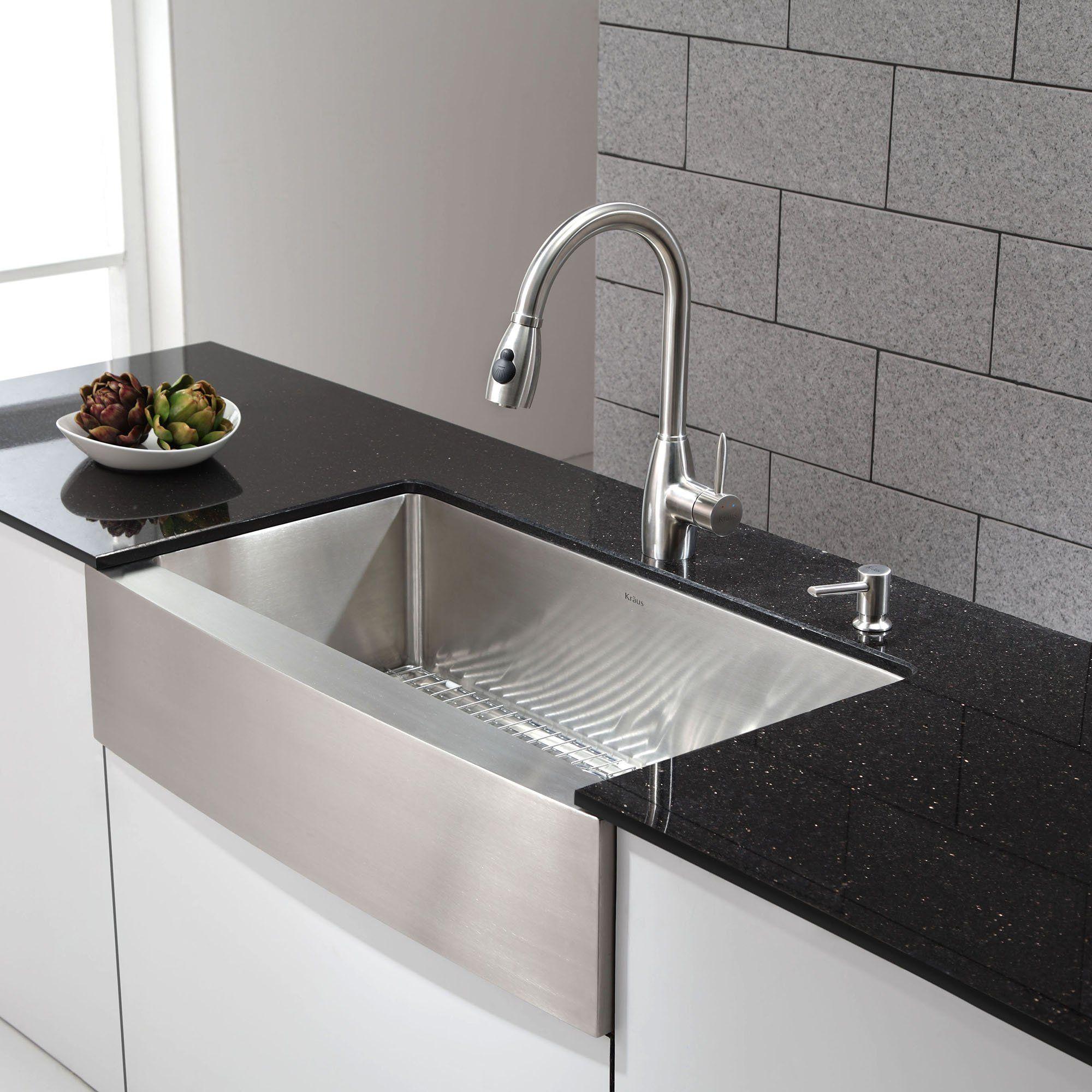 Amazon Com Kraus Khf200 36 36 Inch Farmhouse Apron Single Bowl 16 Gauge Stainless Stee Farmhouse Sink Kitchen Modern Kitchen Apartment Kitchen Decor Apartment