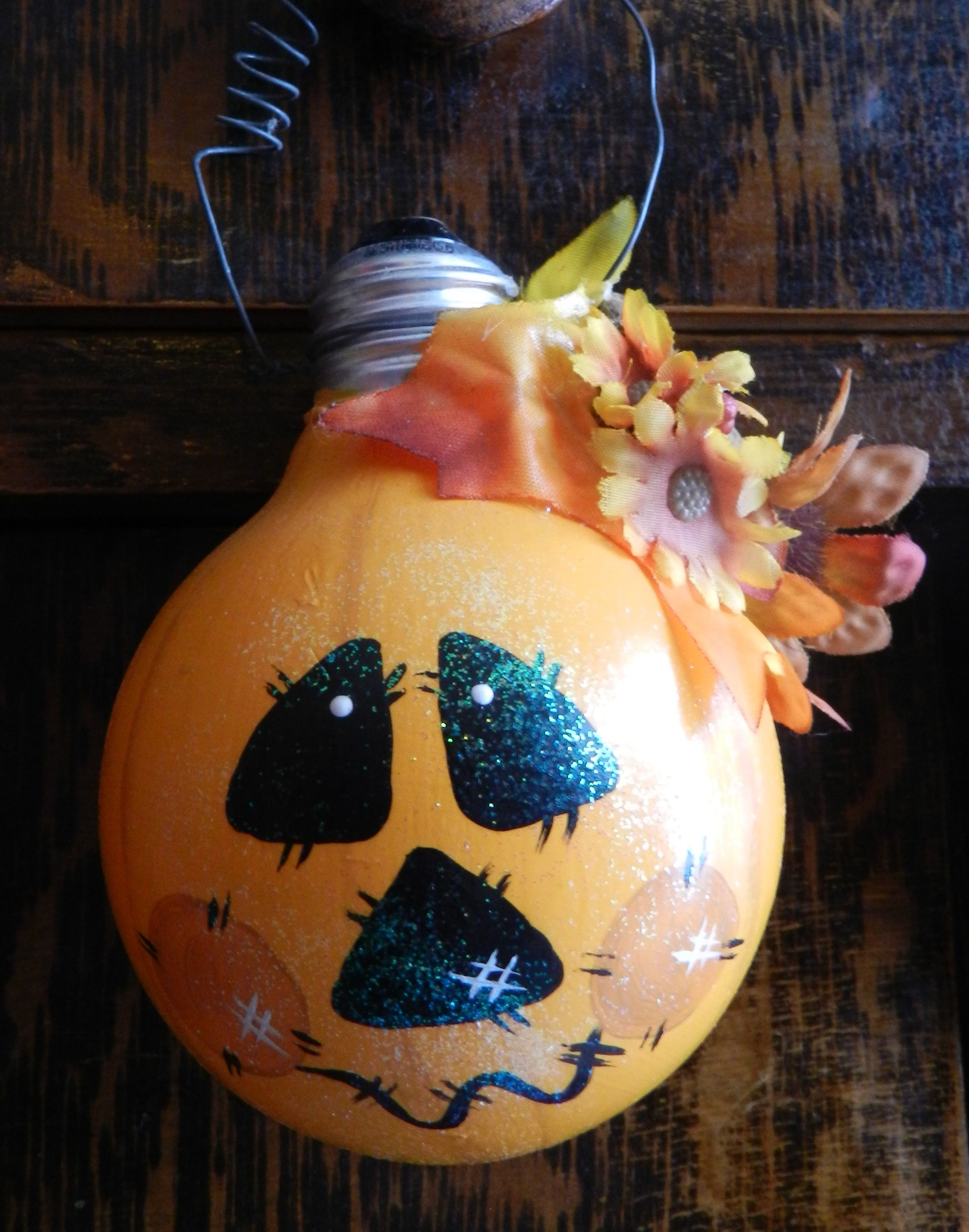 Painted Pumpkin Light Bulb Light Crafts Halloween Crafts Holiday Crafts