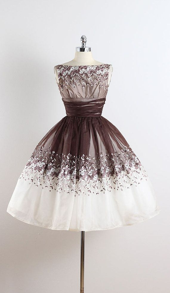 Sugar cream vintage s dress brown white organza