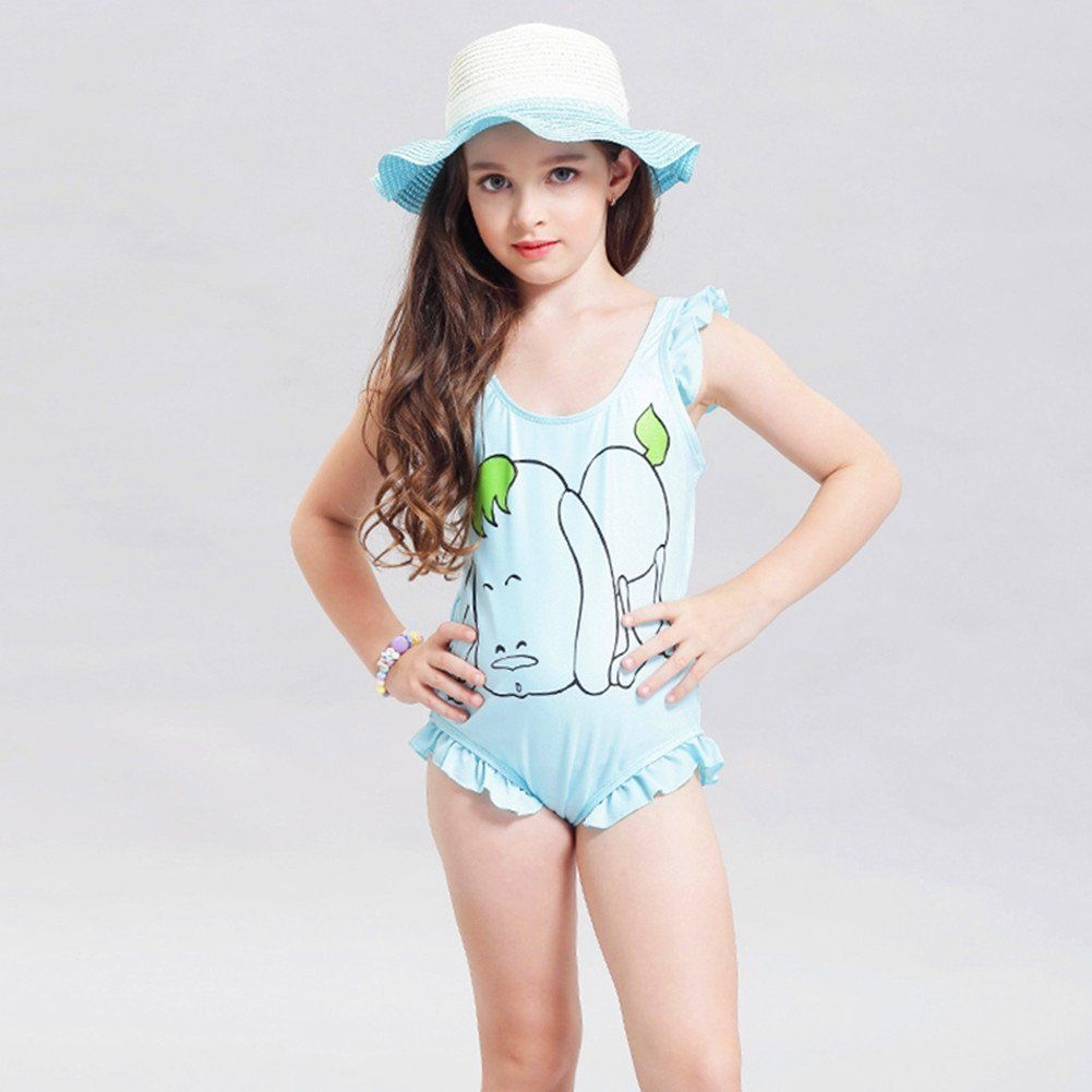 b50285ab6ddb6 Fecihor Girls' Solid Splice One-Piece Swimsuits Swimwear with sunhat ...
