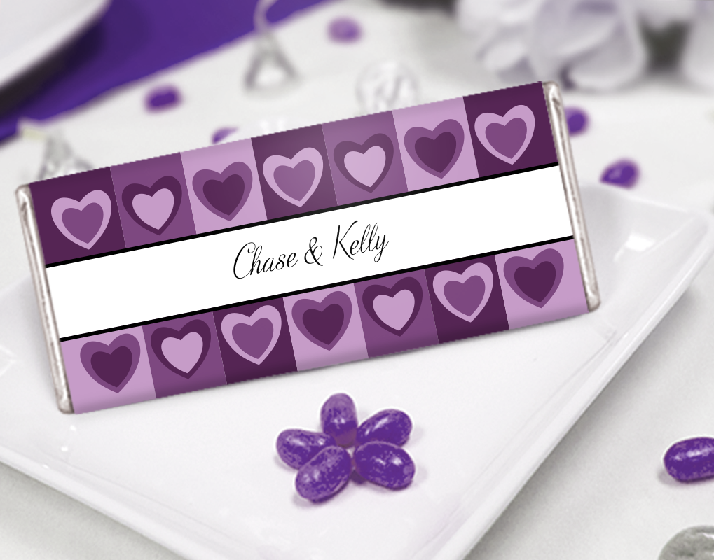 Shades of Purple Heart Wedding Favor Ideas - Personalized Chocolates ...