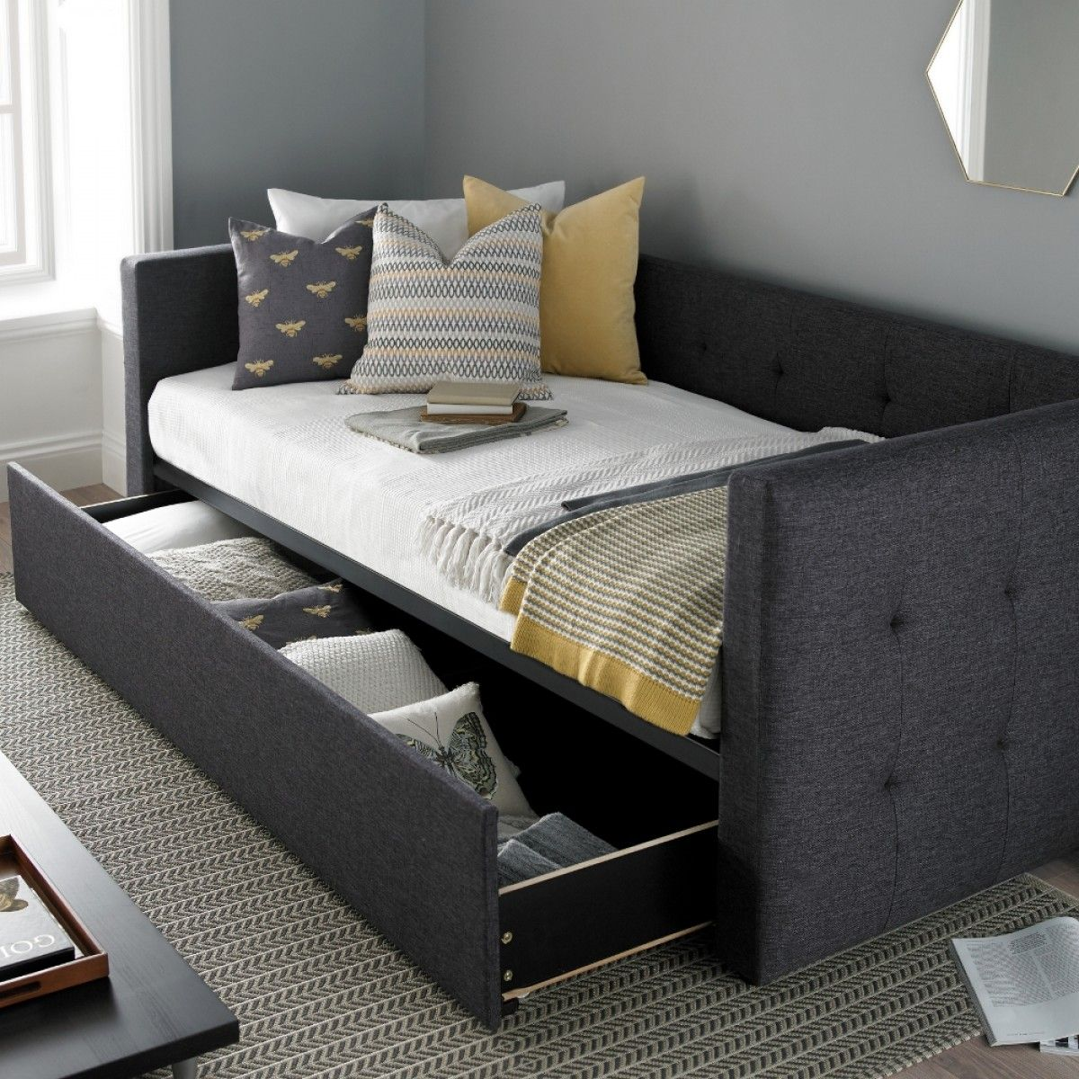 - Frankie Grey Fabric Guest Bed Dekorasyon Fikirleri, Ev