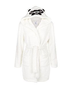 Teens White Pug Hooded Dressing Gown | New Look | New Look <3 ...