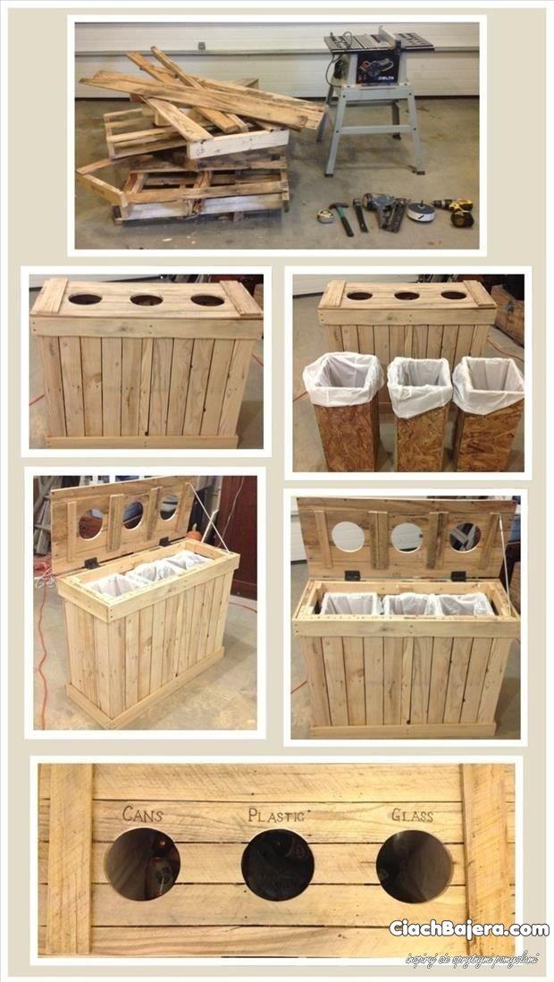 Młodzieńczy Drewniany kosz - segregacja śmieci   Garden   Móveis de Paletes KN77