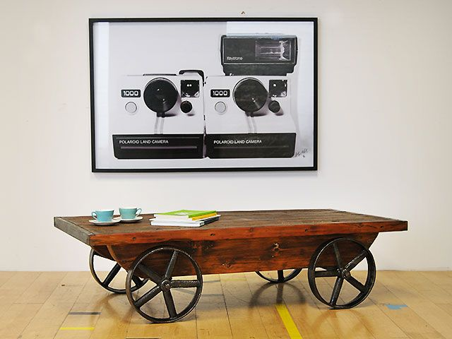 Truck coffee table with cast iron wheels and under-frame. Nice proportion