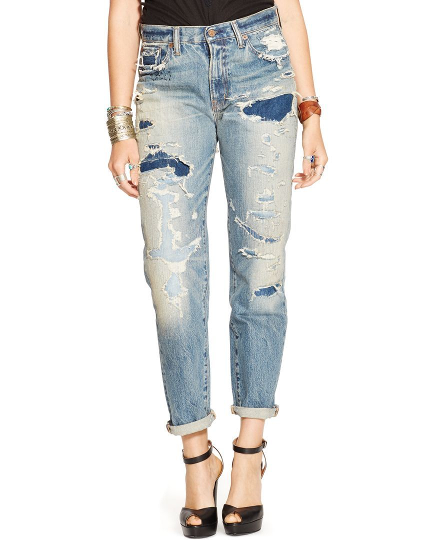 f487652bd03c6 Denim & Supply Ralph Lauren Distressed Boyfriend Jeans, Larack Wash White High  Waisted Jeans,