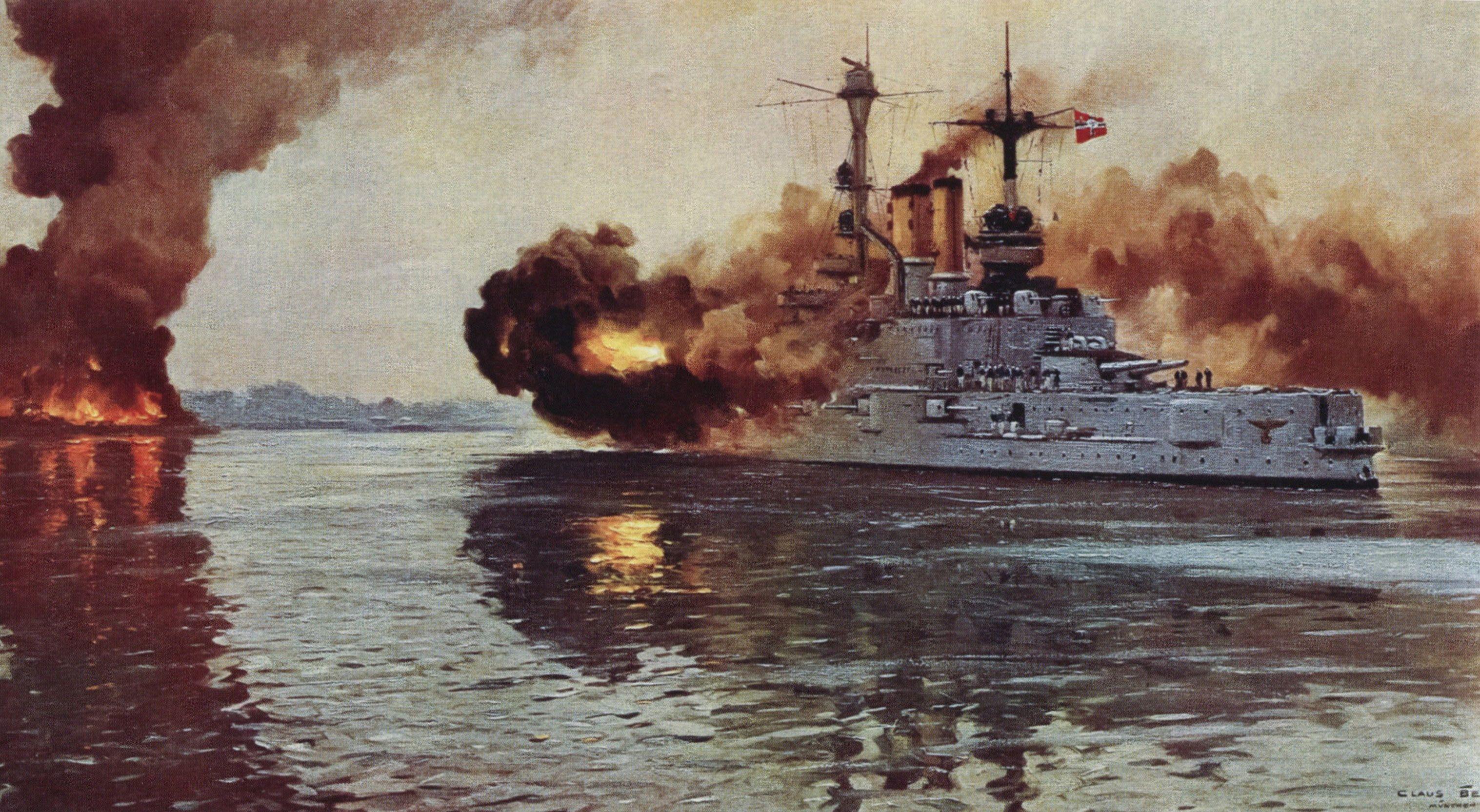 German Battleship Sms Schleswig Holstein Firing The Opening Naval