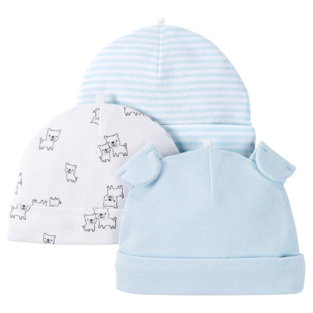 d6493f426 Just One You Made by Carter's Baby Boys' 3-Pack Skull Cap - Blue 0-3 M, Infant  Boy's, Blue Fog
