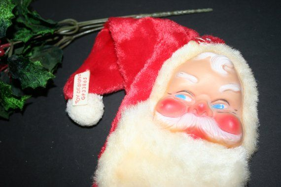 Vintage Santa Zippered Bag, Christmas Storage Bag, Santa Zippered