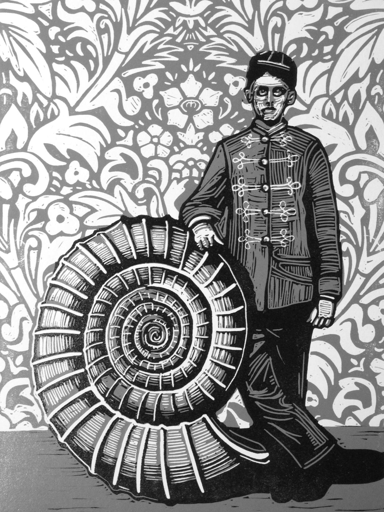 """Ammonite"" linocut print by Ieuan Edwards"