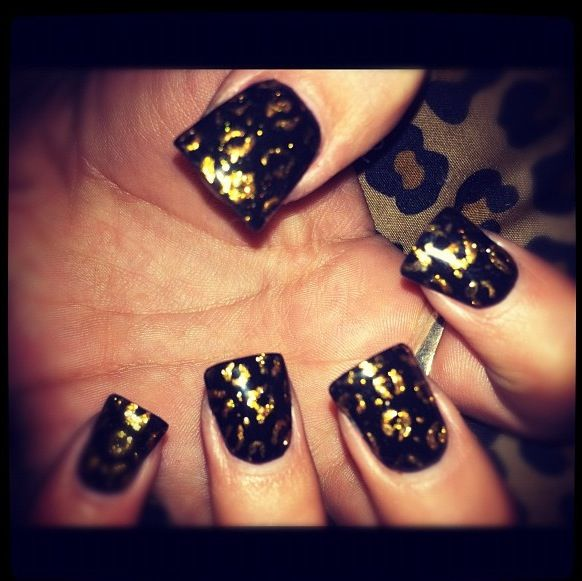 Black with gold leopard