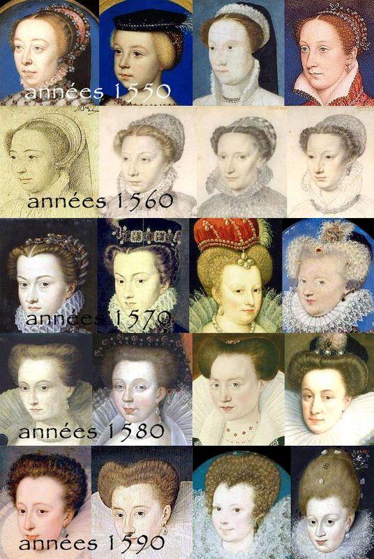 Evolution de la coiffure de 1550 à 1600 Costume