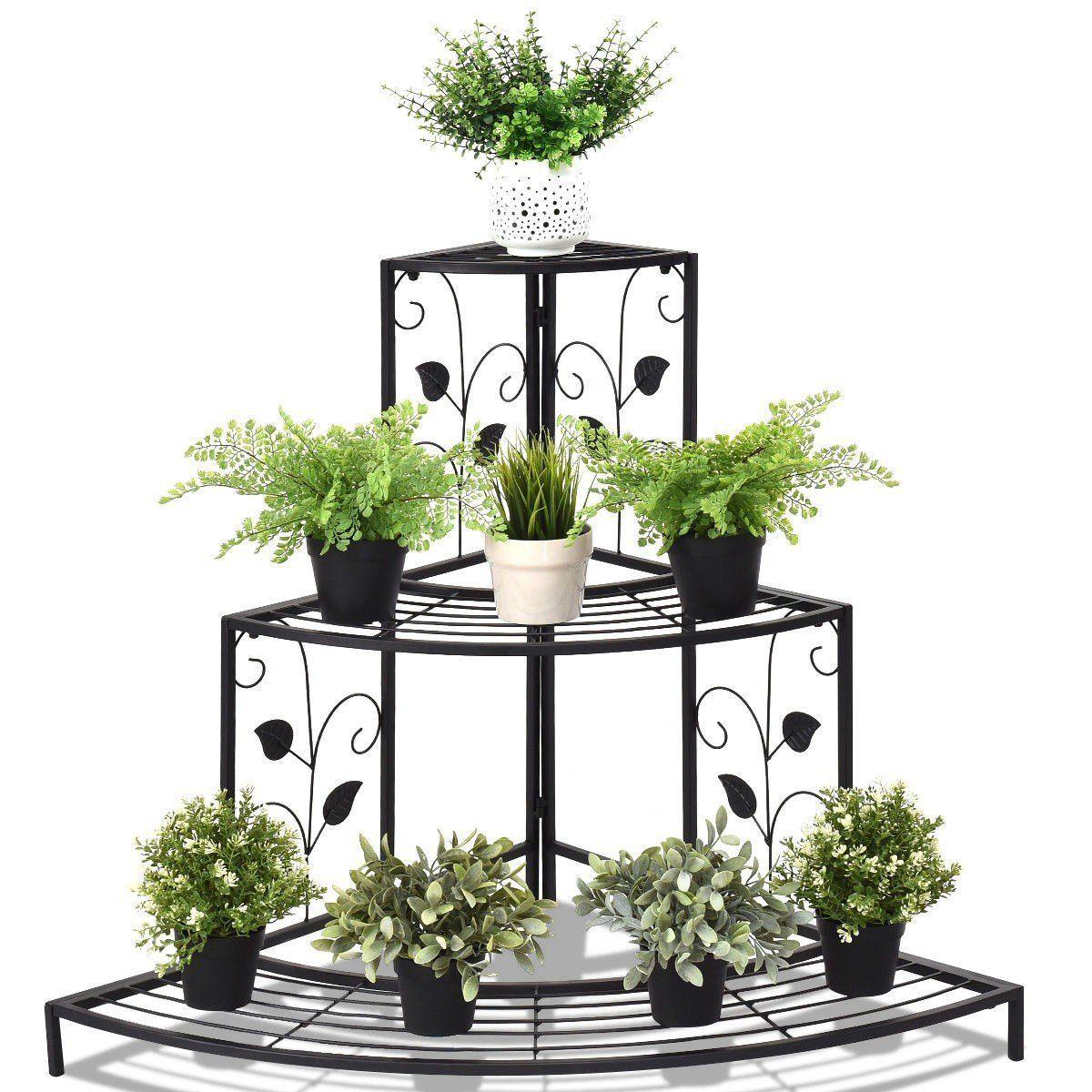 3 Tier Floral Corner Metal Plant Pot Rack Metal Plant Stand