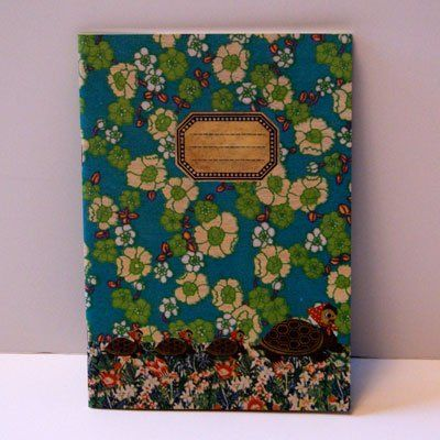 Vintage style note pad cover.  Floral teal blue, greens.  See the little turtles.  Too cute!