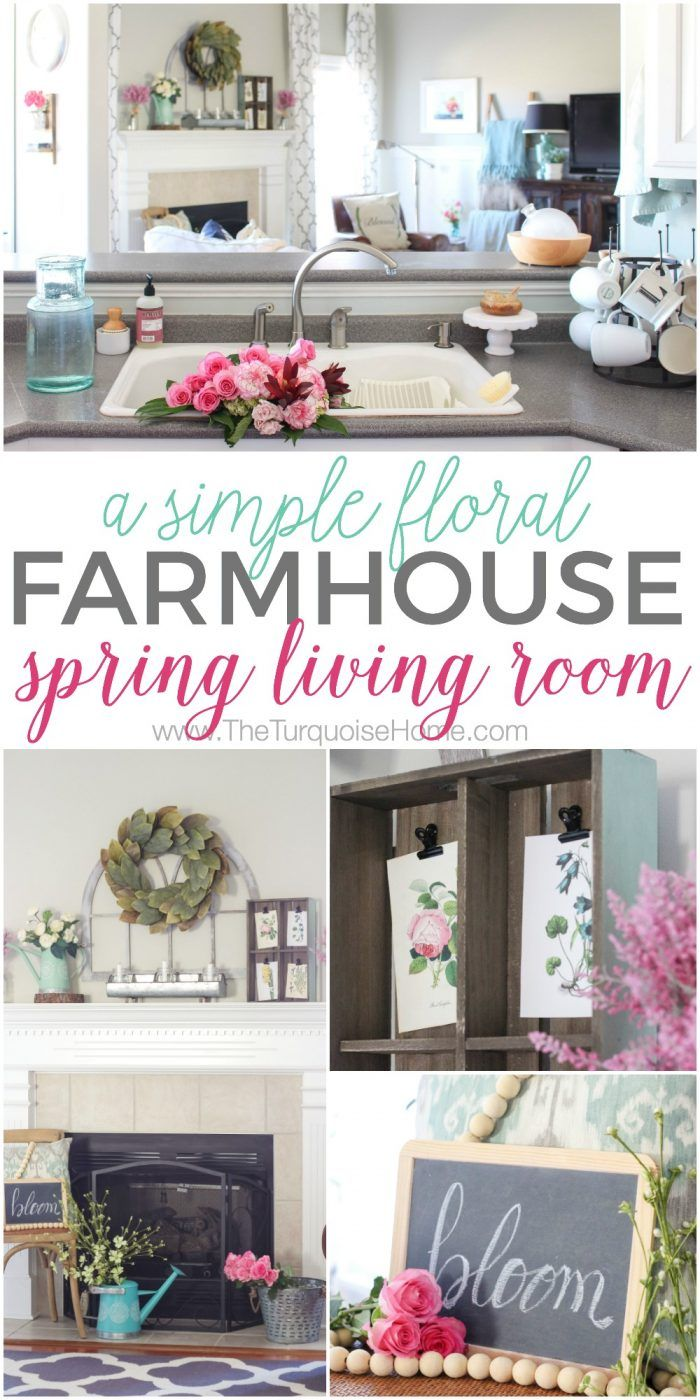 Isn't this just the prettiest pink and turquoise mantel?! Simple Floral Farmhouse Spring Living Room / Farmhouse Spring Decor / Turquoise Spring Decor