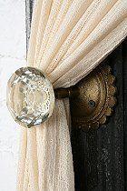 vintage doorknob tiebacks