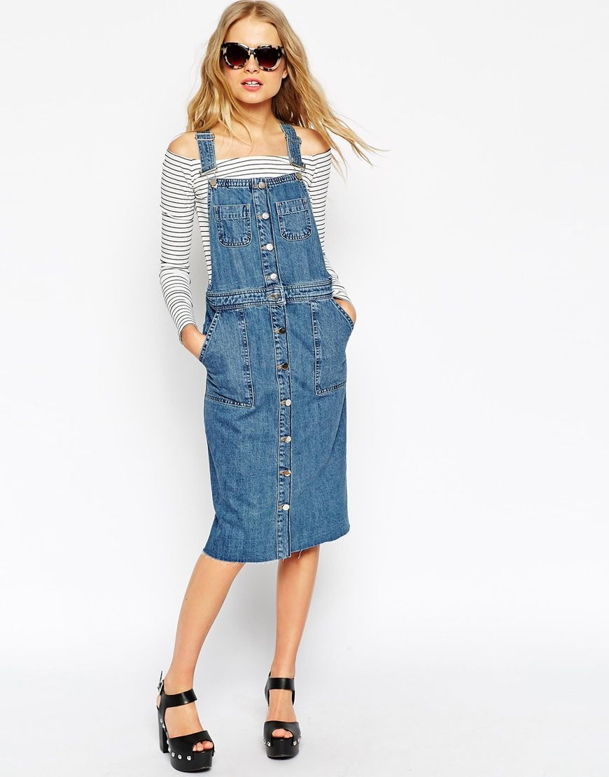31029a3c7b7 A Casual Chic Way To Wear A Denim Overall Dress // tort sunglasses,  off-the-shoulder striped top & platform sandals #style #fashion #summer