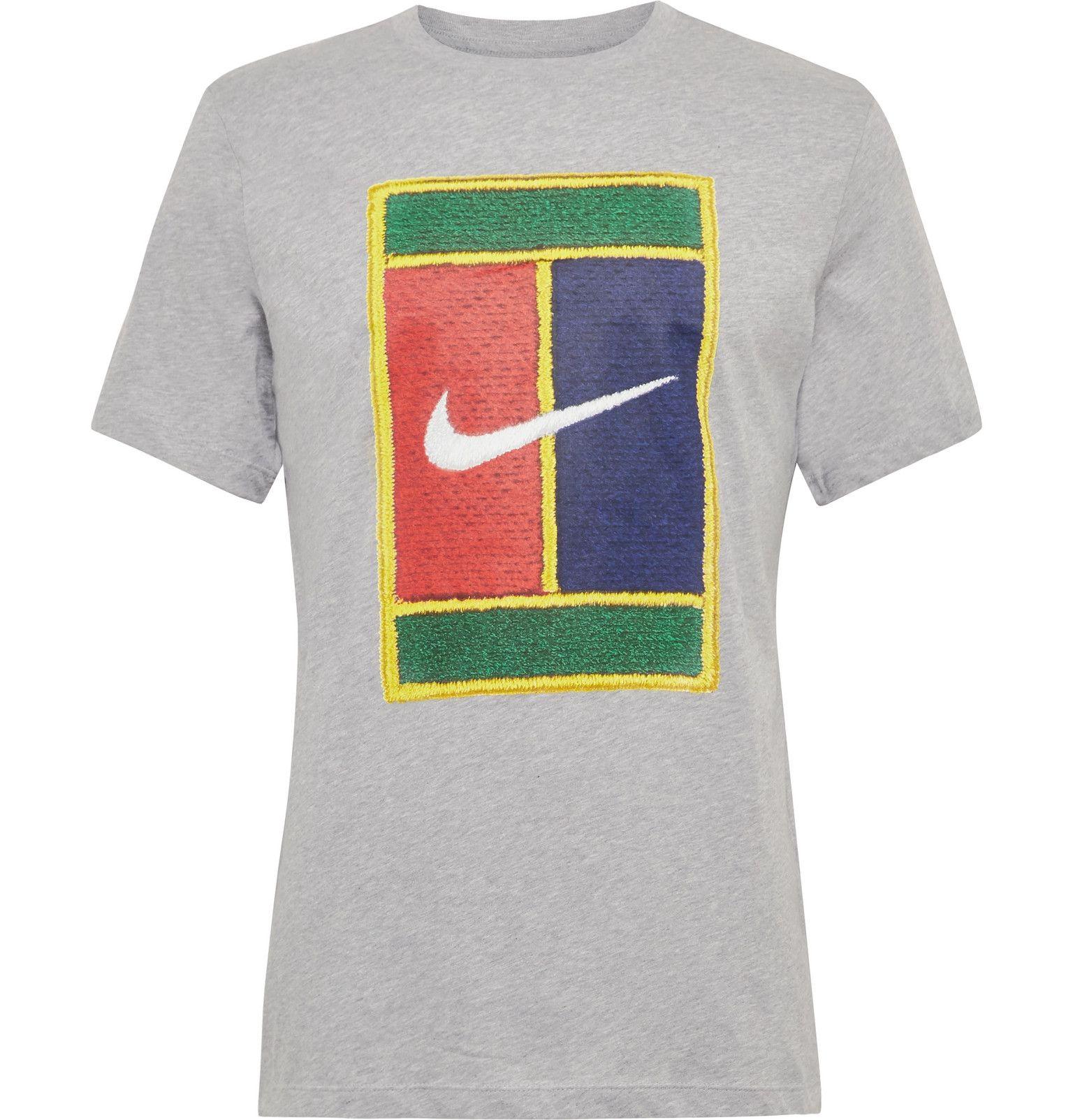 Nike Tennis Court Logo Embroidered Cotton Jersey T Shirt Men Gray Tennis Shirts Logo Embroidered Nike Tennis