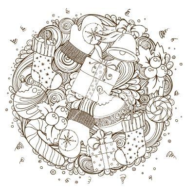 Merry Christmas Holiday Circle Composition Vector By Julia Snegireva On Vectorstock Christmas Coloring Pages Coloring Books Coloring Pages
