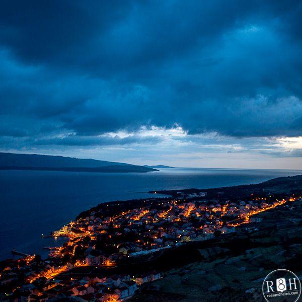 Bol, island Brac, Croatia. Night view on the old city, beautiful landscape, blue color, night light. http://blog.rossandhelen.com/бол-острів-брач-в-хорватії/