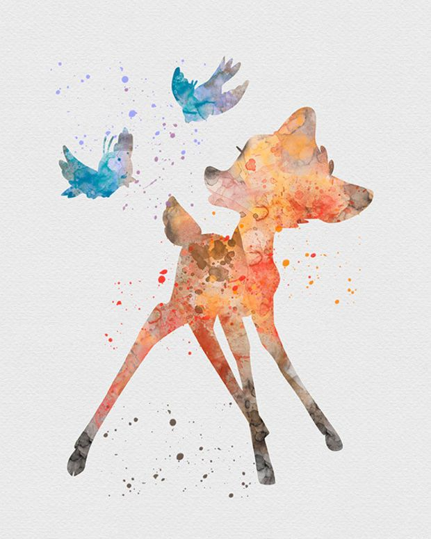 Bambi Watercolor Art Print With Images Watercolor Disney