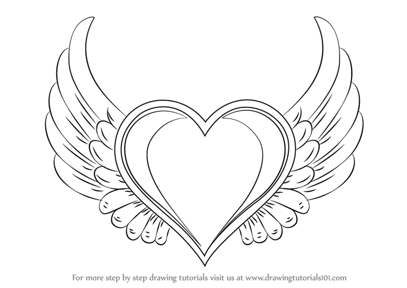 Learn How To Draw Heart With Wings Love Step By Step Drawing Tutorials Wings Drawing Heart Drawing Heart With Wings