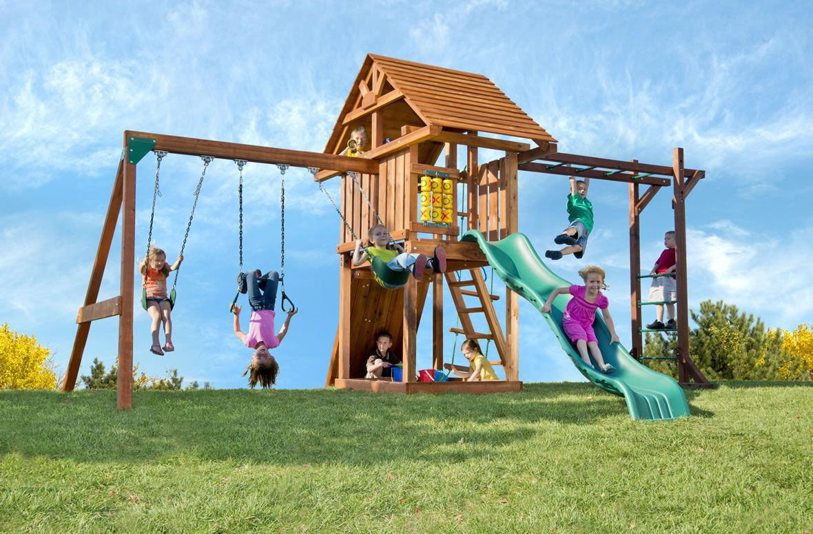 Wooden Playset With Premium Redwood Construction And Endless Play Opportunities Swing Sets For Kids Backyard Playset Swing Set