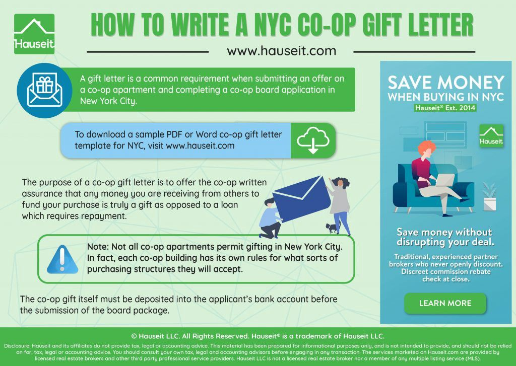 Coop gift letter sample and instructions for nyc letter