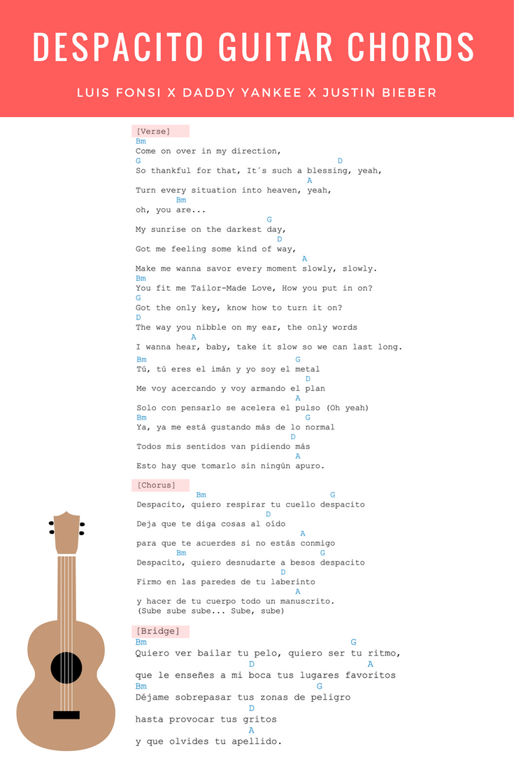 Despacito Guitar Chords Lyrics Justin Bieber Remix Luis Fonsi