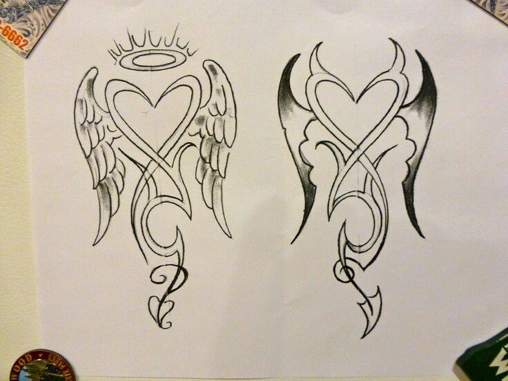 angel devil hearts tattoo ideas pinterest heart. Black Bedroom Furniture Sets. Home Design Ideas