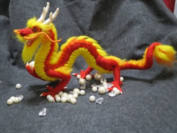 Items similar to Needle felted oriental dragon with pearl on Etsy