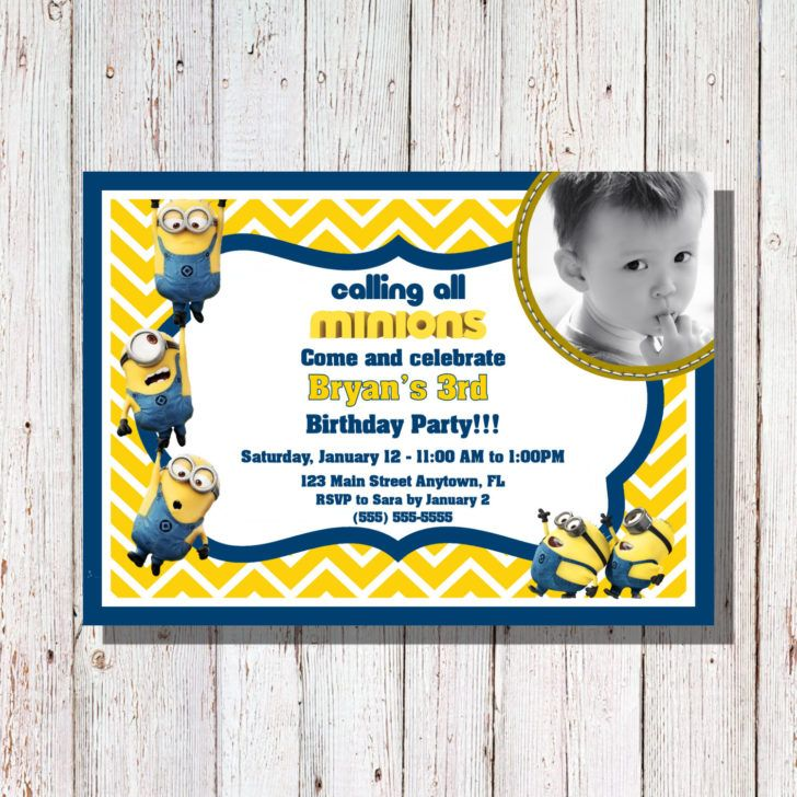 Birthday Minions Birthday Invitation Template Minion Party Custom - Birthday invitation template minions