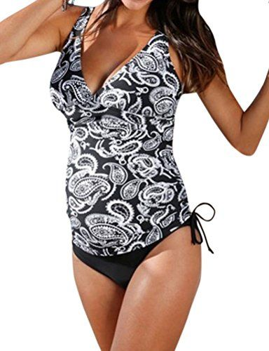 97d69c4f83 ZXZY Maternity Tankinis Women Floral Stripe Bikinis Swim Suit Beachwear