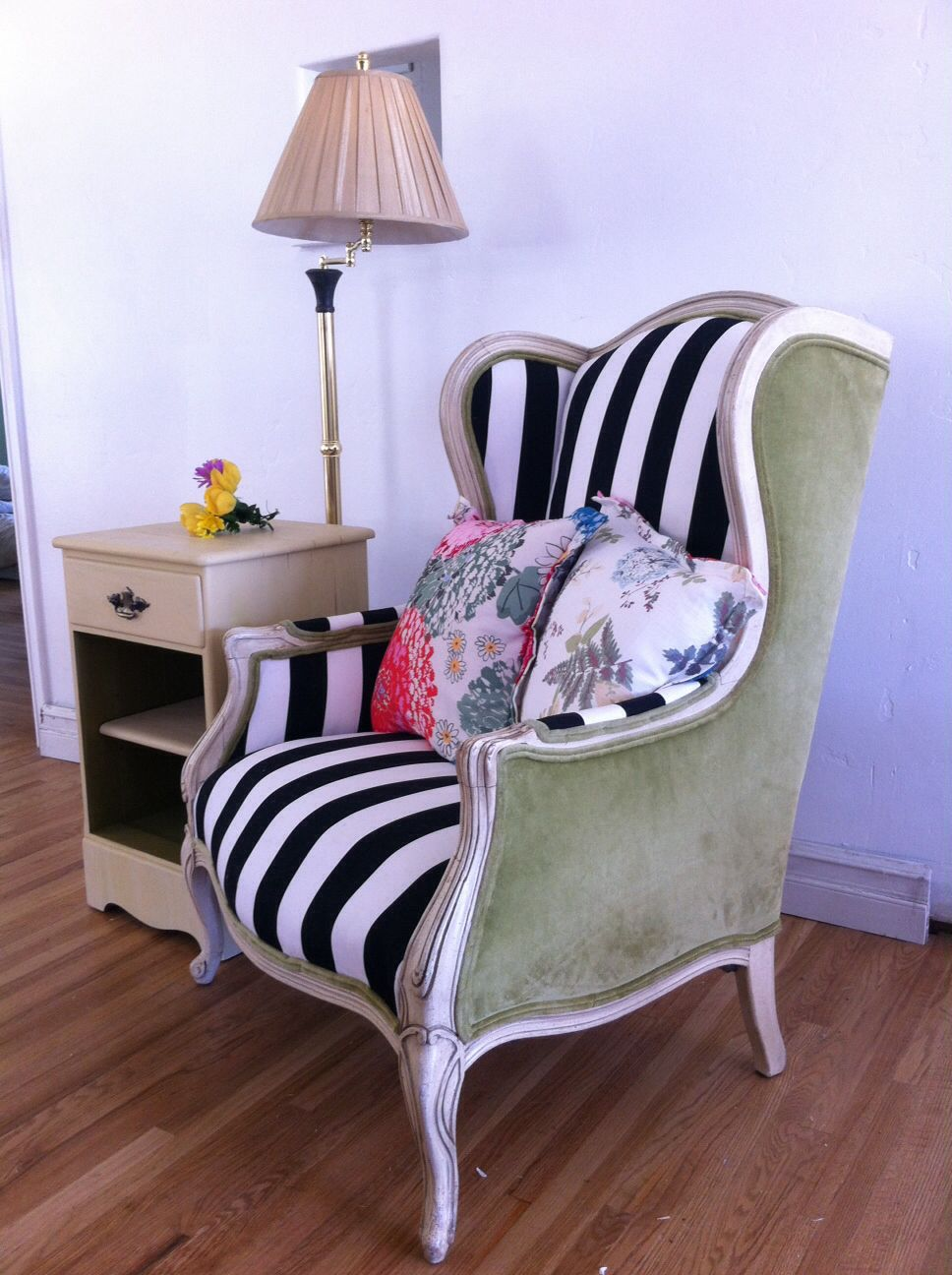 Two Toned French Antique High Wing Back Chair. Newly Reupholstered In Black  U0026 White