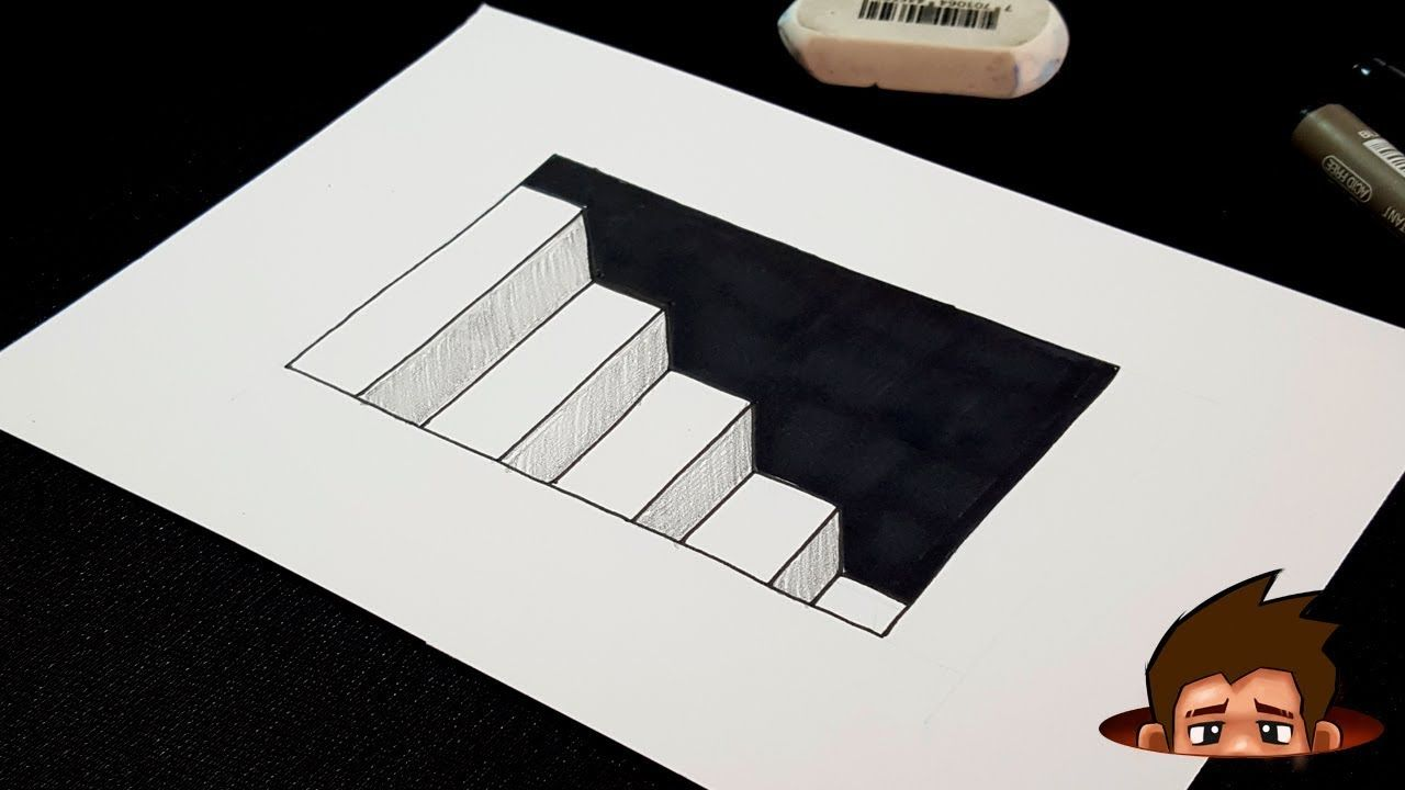 Easy Drawing How To Draw 3d Stairs With Hole 3d Art For Kids 3d Art Drawing Easy Drawings 3d Drawings