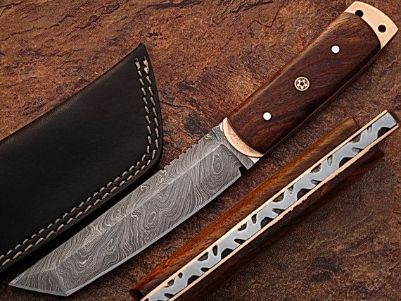Hand Made Damascus Steel Tanto Point Hunting Knife by DamascusKing