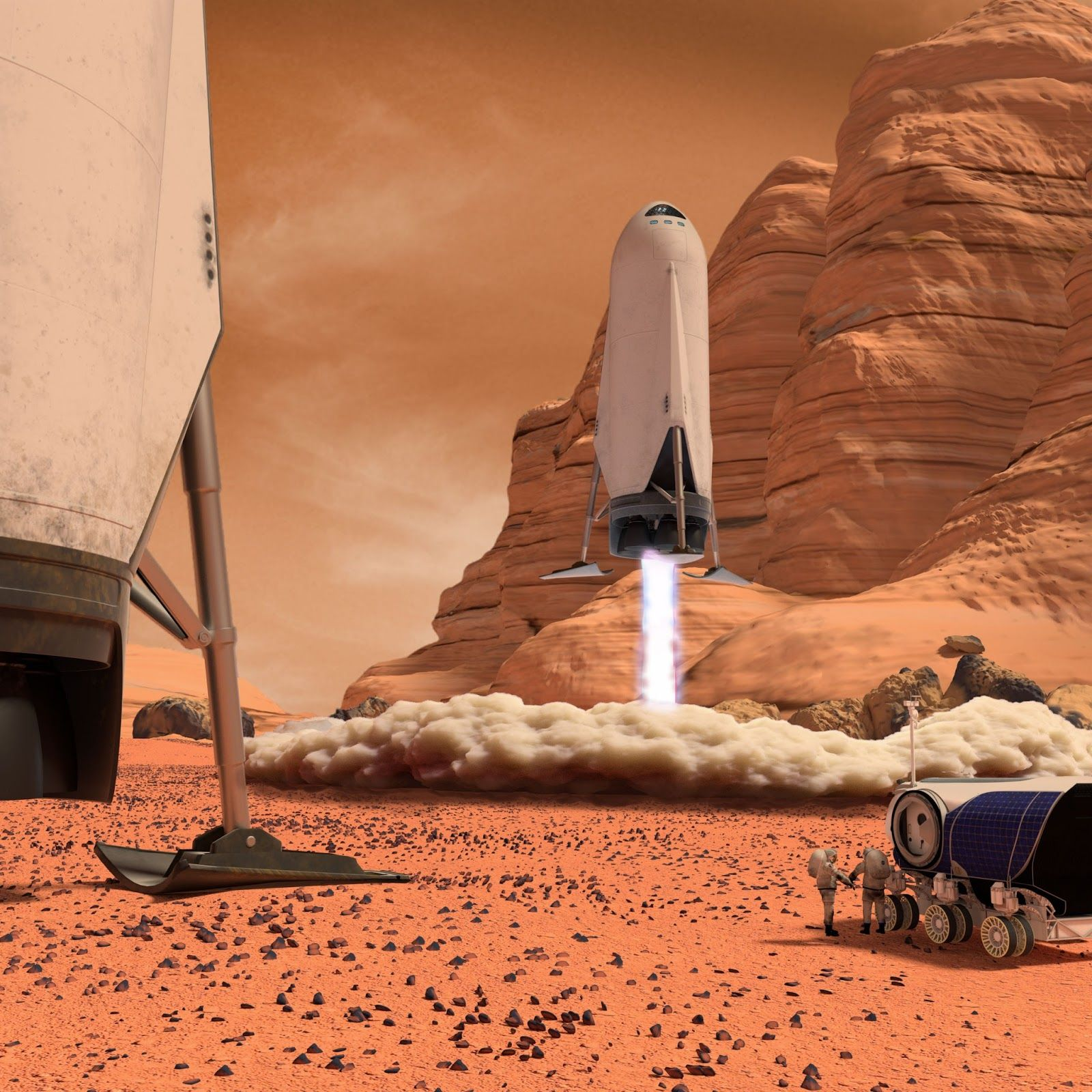 SpaceX downscaled ITS spaceship landing on Mars | Futurist ...