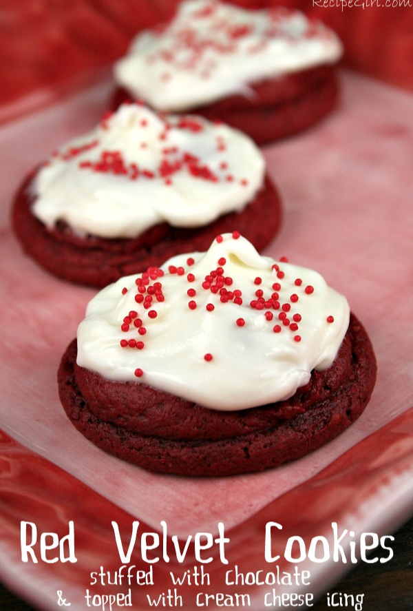 Red Velvet Cookies Stuffed with Chocolate... and topped with Cream Cheese Frosting