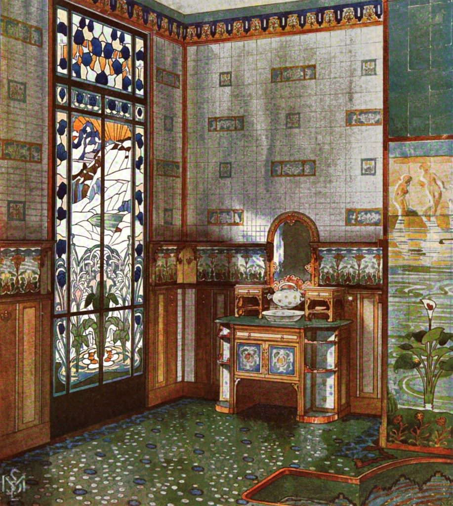 Art Nouveau Bathroom Design By E. M. Simas C.1903