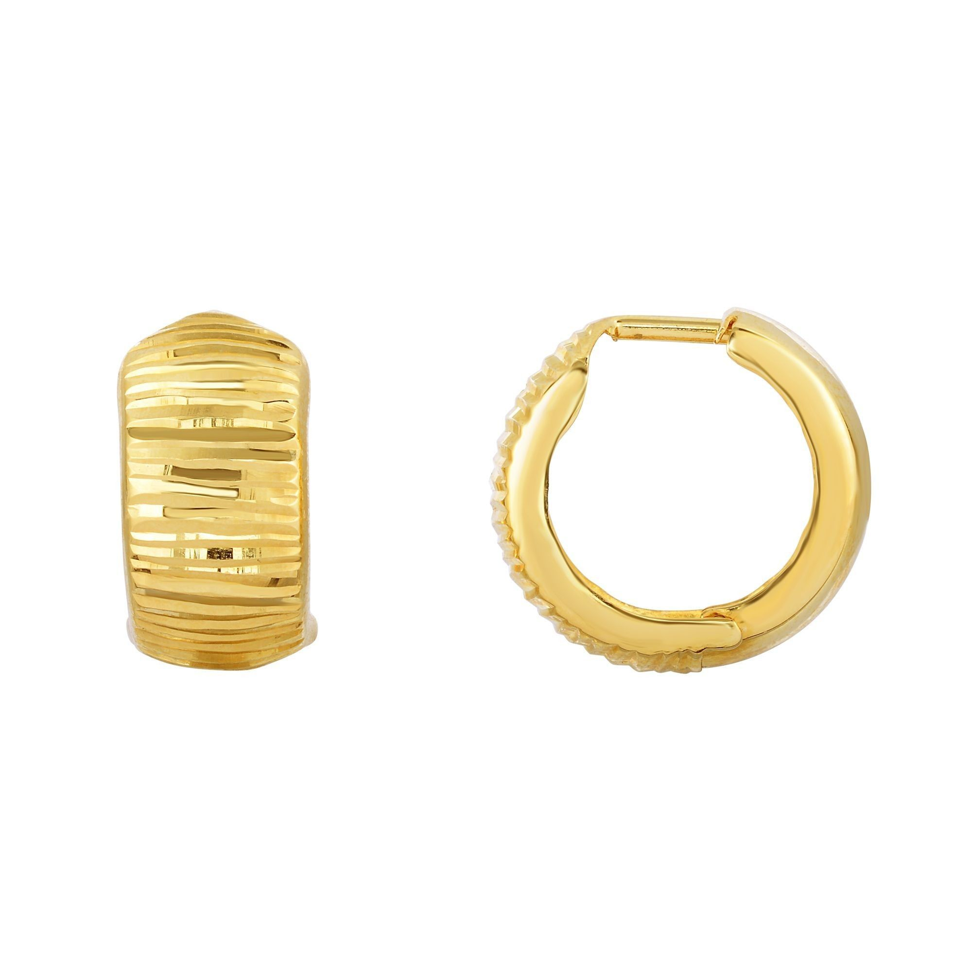 10K Gold Half Shiny & Half Diamond Cut Huggie Earring