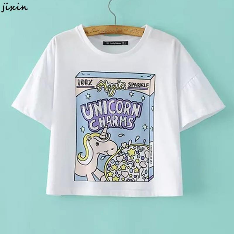 Mujeres Tops verano Harajuku camiseta de manga corta de algodón blanco camisa corta unicornio encantos lentejuelas Letter Print mujeres en Camisetas de Moda y Complementos Mujer en AliExpress.com   Alibaba Group