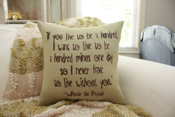Burlap Pillow  If You Live to be a Hundred.. by HeSheChic on Etsy