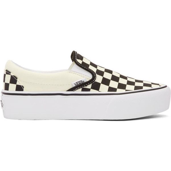 efe9a3c56459 Vans Off-White and Black Checkerboard Classic Slip-On Platform... (