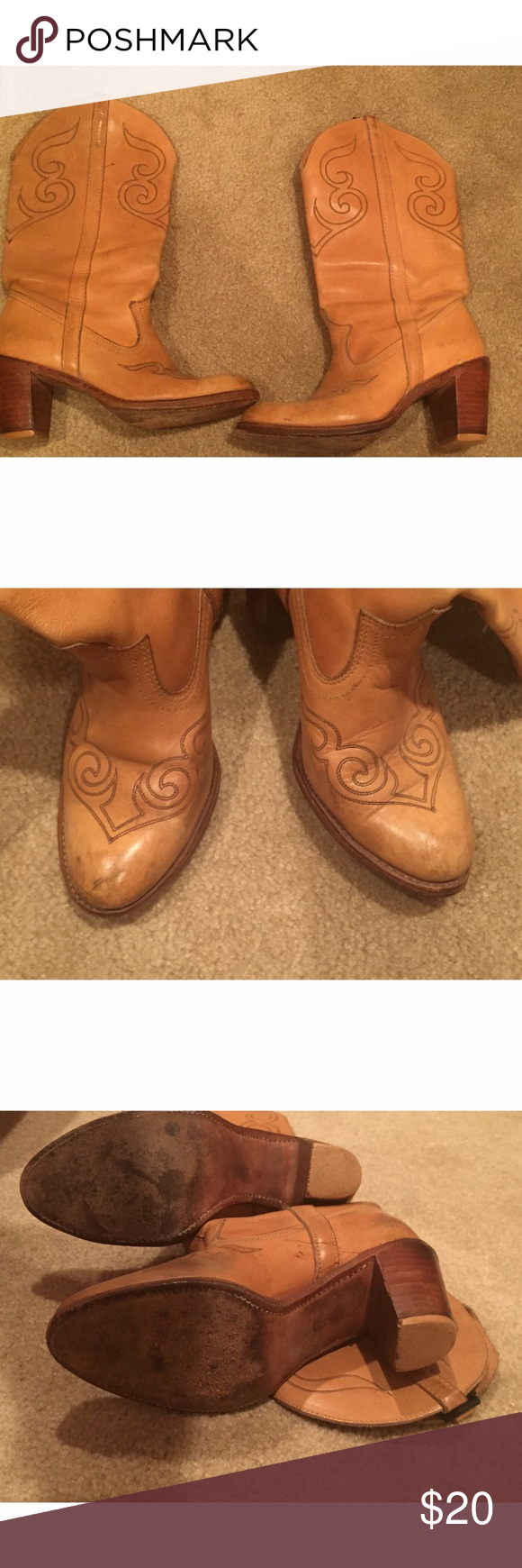 Vintage cowboy boots Found these beauties at an antique shop in San Juan Capistrano. They are in used condition with such an adventure behind them. Look amazing with any outfit. Shoes Heeled Boots