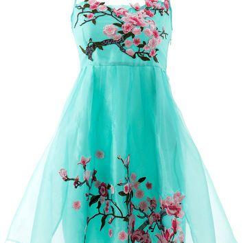 Green Floral Print Mesh Sleeveless Mini Dress