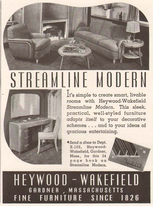 Original 1950 Vintage Print Magazine Advertisement For Heywood Wakefield  Streamline Modern Furniture, Gardner, MA.